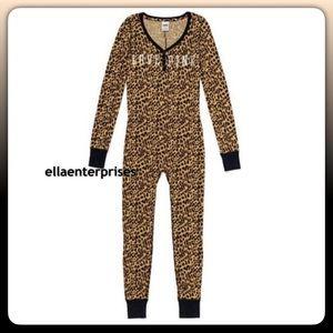 VS Pink Leopard Print LOVE PINK Thermal Onesie HTF